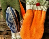 Handmade Orange Wool Sweater Mittens