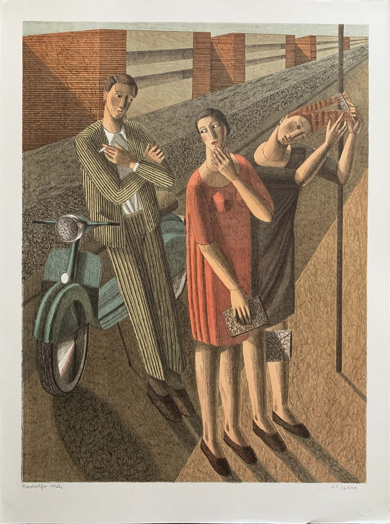 RODOLFO MELI lithography Figure with Vespa 80x60 signed numbered futurism Cubism