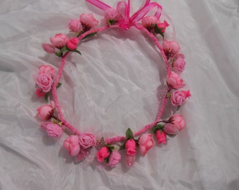 Flower Crown hairpiece, bright pink handmade Bride Bridesmaid Boho Wedding Flower Girl Child & Adult