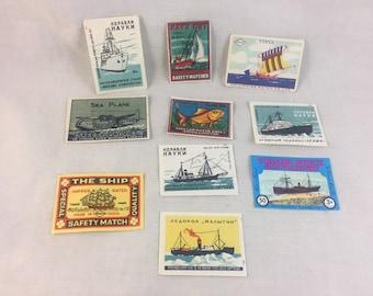 Vintage Matchbox Stickers / Labels - Set of 10 Junk Journal Supplies