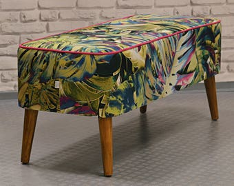 Mr M Monstera Bench, bedroom bench, upholstered bench, comfortable bench, entryway bench, modern bench, loft style, tropical botanical style