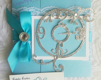 Beautiful Invitation, inspired in Alice in Wonderland/sweet16/quinveañera/birthdays/specialocacions