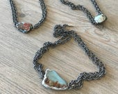 Choker-Chain choker with soldered abalone or African opal pendant-layering necklace-boho jewerly-beach jewerly