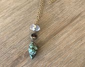 Turquoise raw quartz soldered pendant Matte gold layering necklace with hand soldered quartz, crystal and turquoise-long necklace-soldered p