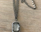 Layering pearl soldered crystal pendant necklace-pearl chain-boho-cottage chic jewerly
