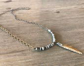 Matte gold feather-Mixed metal layering necklace-soldered pendant-feather pendant-beaded necklace