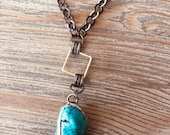 Soldered turquoise pendant mixed metal layering necklace-boho-gypsy jewelry