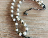 Pearl choker -soldered pendant-dainty jewelry-freshwater pearl -gift for her