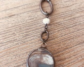 Jasper-Soldered pendant pearl layering necklace-adjustable necklace