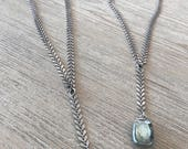 Y fishtail chain soldered crystal necklace-layering necklace-free shipping-gift for her