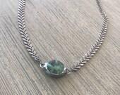 Choker-Fishtail chain soldered turquoise choker-layering choker-boho jewelry-beach jewelry-