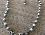 Choker-Freshwater pearl soldered wing choker-layering necklace-gift