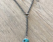 Turquoise soldered pendant Y necklace-toggle necklace-layering necklace