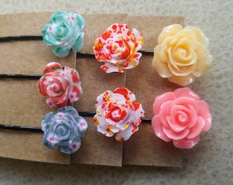 Resin rose hair pins, flower bobby pins, floral hair accessory, pink, patterned, gift for girls,
