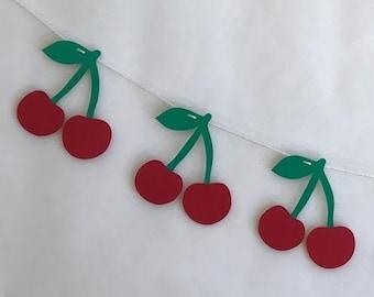 Cherry Banner Cherry Party Summer Decor-  Cherry Birthday Banner Age Banner