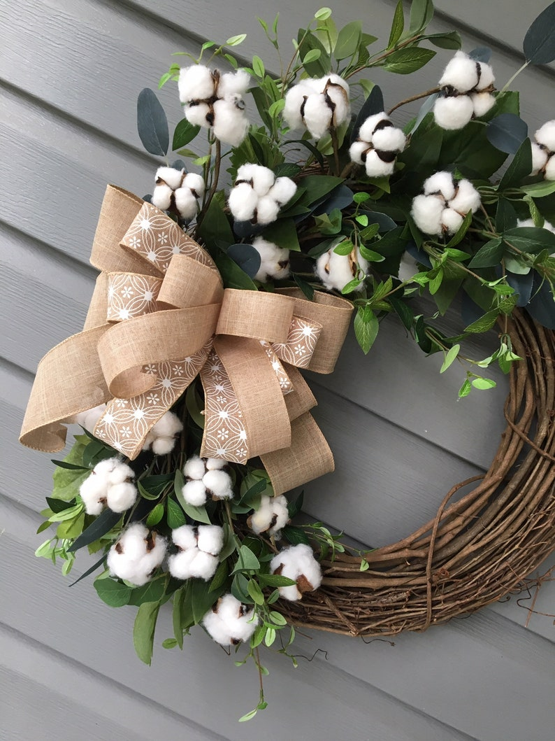Farmhouse Cotton Wreath for Front Door Year Round Wreath Country Wreath Welcome Wreath Rustic Wreath Greenery Cotton Wreath