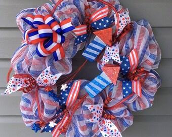 Patriotic Wreath for Front Door, July 4th Wreath, Red White Blue  Wreath, Wreath for Front Door, Uncle Sam Wreath, Patriotic Decor