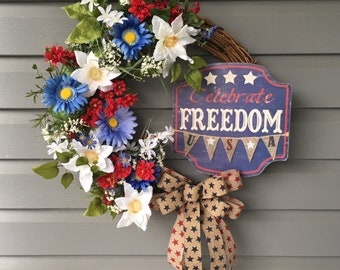 Patriotic Wreath for Front Door, July 4th Wreath, Red White Blue Wreath, Military Grapevine Wreath, Uncle Sam Wreath, Patriotic Decor