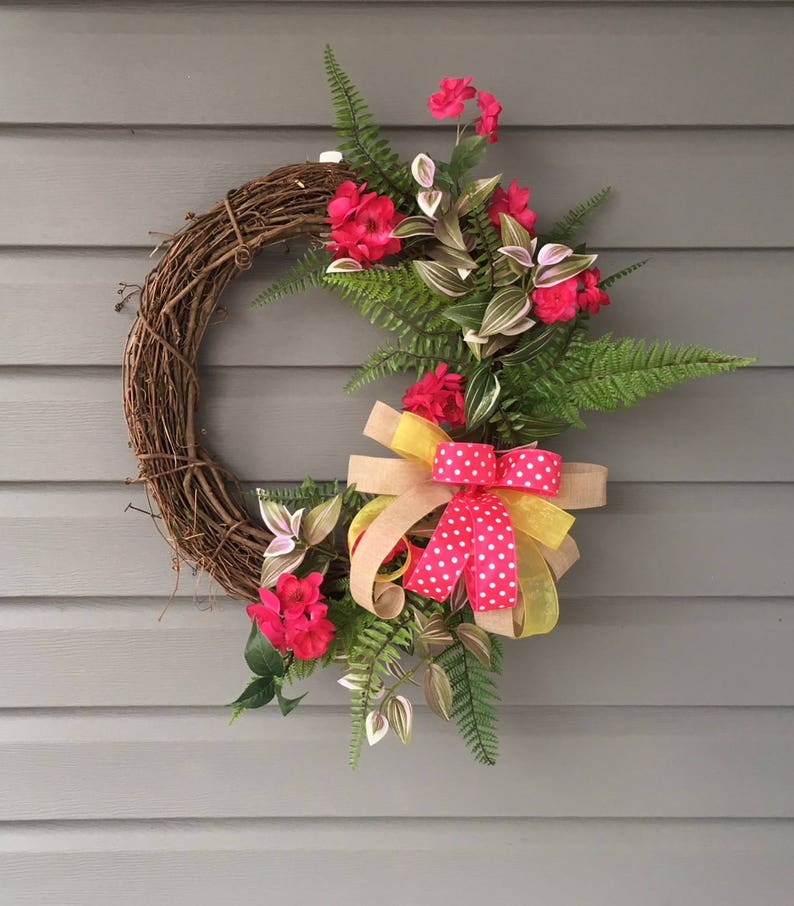 Summer Wreath For Front Door Pink Floral Wreath Apple Etsy