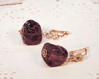 "Gold earrings, burgundy earrings, red earrings, wine earrings, burgundy jewelry, marsala jewelry ""Maeve"""