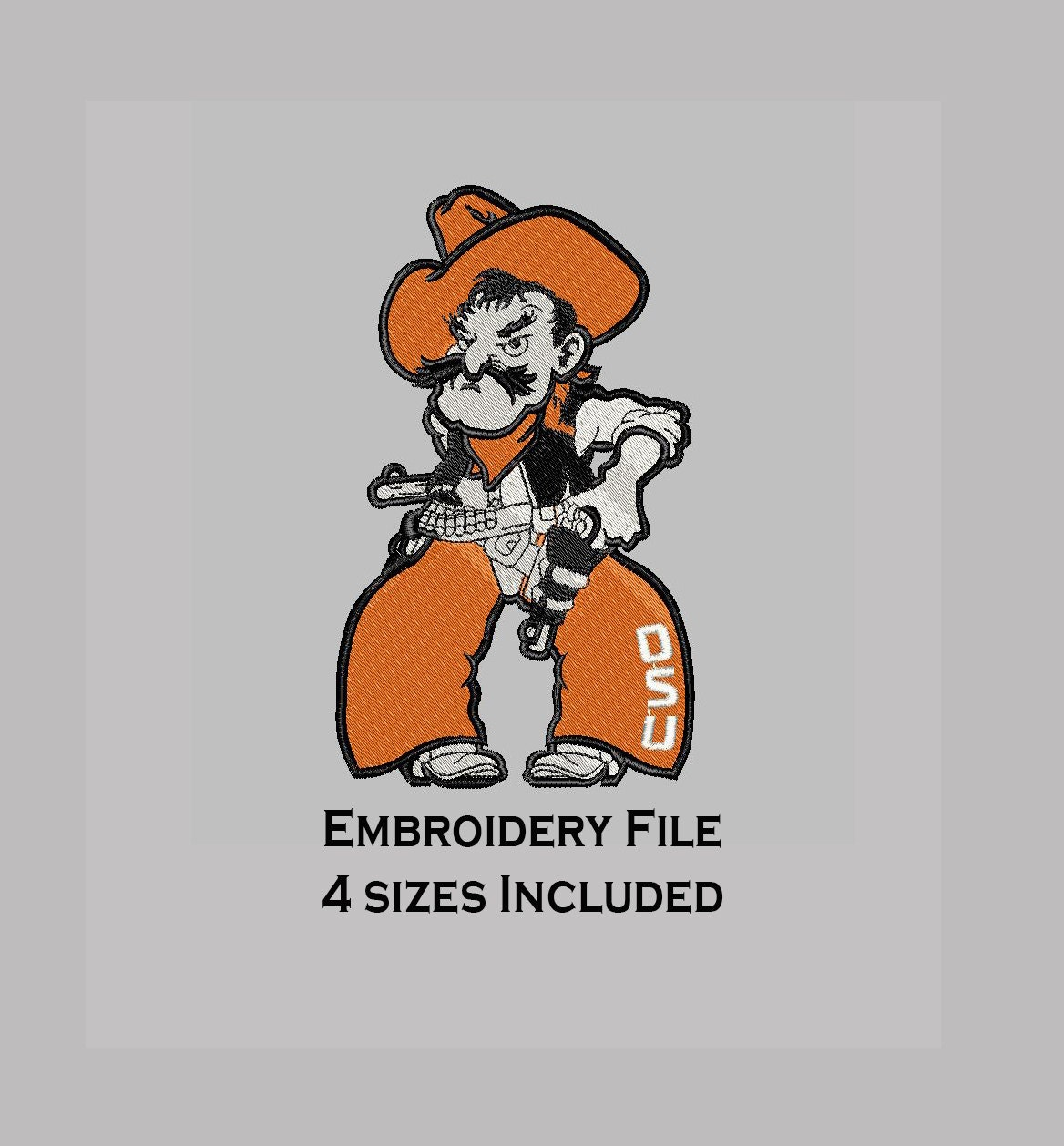 embroidery filled design 4 sizes pistol pete | etsy