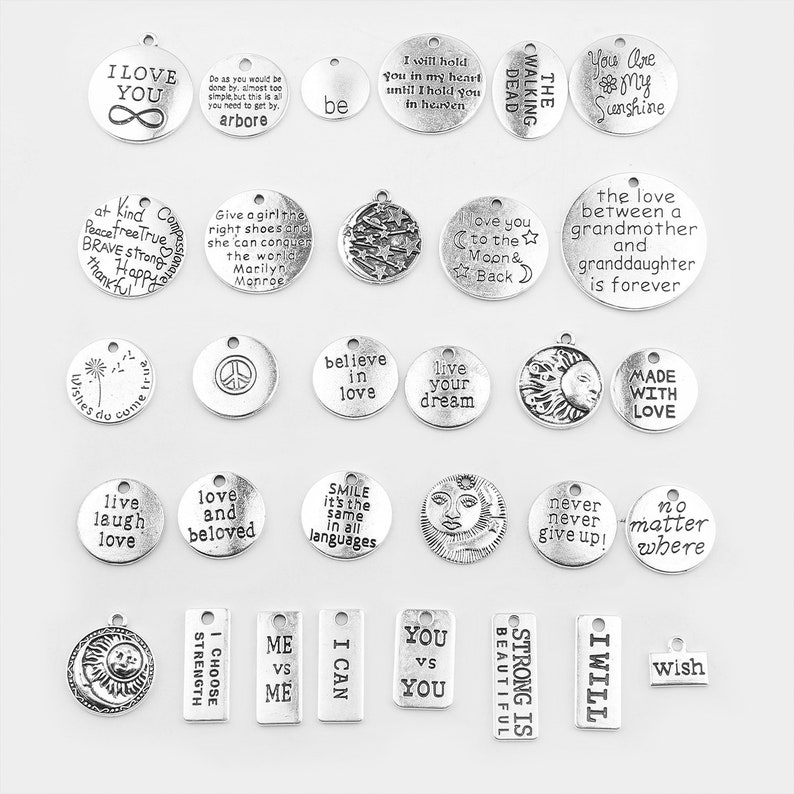 45Pcs Antiqued Silver Tone Round Rings Charms Pendants Connectors 22mm