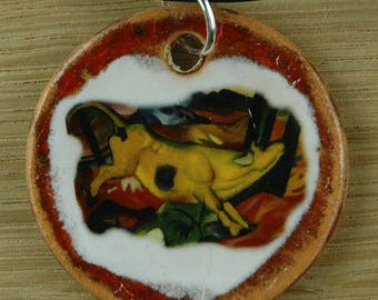 Orginal handicraft: pendant with a yellow cow. Franz Marc, expressionism, jewellery, charm, art, animal