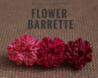 Three Shades Of Pink Flower Barrette