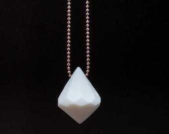 Diamond Life handmade geometric jewellery made in Greece, porcelain pendant, white porcelain necklace, ceramic diamond