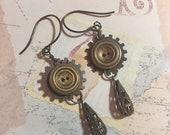 Vintage Button Earrings, Steampunk