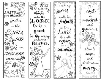 bible verse bookmarks on thankfulness bw color your own print and cut