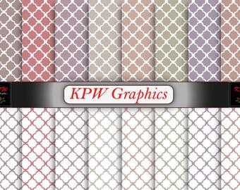Rainbow Quatrefoil Digital Printable Scrapbook Papers, Brown, Blue, Mauve, Personal & Small Commercial use (0034)
