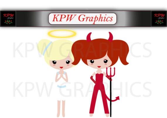 Engel Und Teufel Mädchen Clipart In Ein Format Png 300 Ppi Etsy