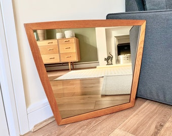Vintage Danish Asymmetrical Teak Framed Mirror, Mid Century Square Wall Mirror, Hallway Mirror, Bathroom Mirror, Antique Mirror, Mirrors