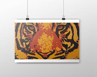 Tiger - Print acrylic painting 60x40 cm - Animals