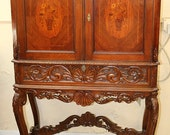 Satinwood Inlaid Walnut French Secretary Desk China Cabinet Liquor Bar C1920