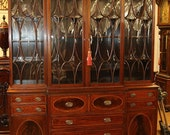 Best English Tiger Mahogany Inlaid Federal Breakfront China Cabinet Bookcase WOW