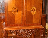 Inlaid Satinwood French Tall Completely Restored China Liquor TV Cabinet MINT