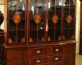 WOW SIGNED Seeded WAVY Glass Mahogany Satinwood Inlaid Breakfront Bookcase China
