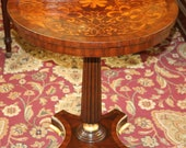 Maitland Smith Inlaid Walnut Satinwood Occasional End Martini Table MINT
