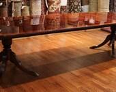 Gorgeous Flame Mahogany SLIM Profile Satinwood Banded Regency Dining Table 3 LVS