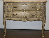 Superb Cream Paint Gilded Green Onyx Top French Louis XV Commode Dresser C1920