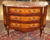 Superb Inlaid French Marble Top Louis XV Commode Buffet Server Sideboard MINT