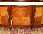 Superb French Satinwood Bombe Marble Sideboard Buffet Console SHALLOW Depth