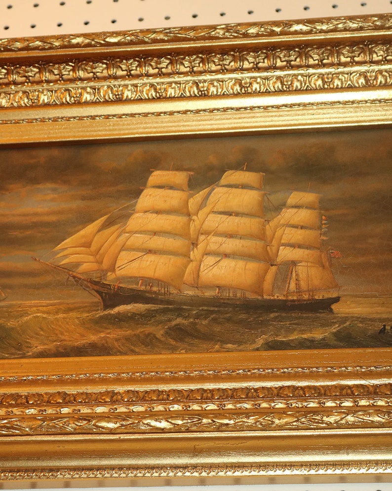 Beautiful Small Genuine Oil Painting Of Large Sailing Clipper Ship Gilded  Frame