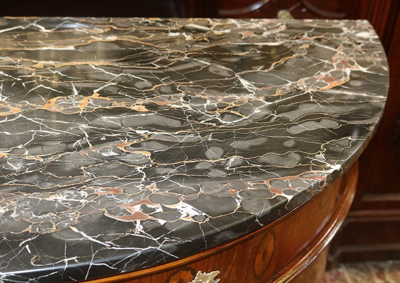 Best French Black Portoro Marble Louis XV Inlaid Walnut Commode Server Buffet