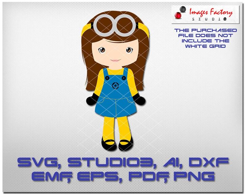 Minion Girl Cuttable Cricut Design Space Silhouette Digital Etsy