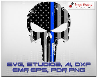 Blue Line Punisher Flag distressed  Cricut Design Space Silhouette Digital Cut Files Instant Download svg dxf studio3 png pdf clipart police