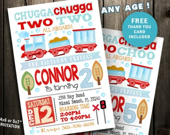 Train Party Invitation Birthday Invite Printable Digital File Second 2nd Chugga Two