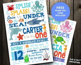 Under Sea Birthday Invitation The Ocean Invite Splash Party Pool Shark Printable Digital File Boy Girl Dolphin